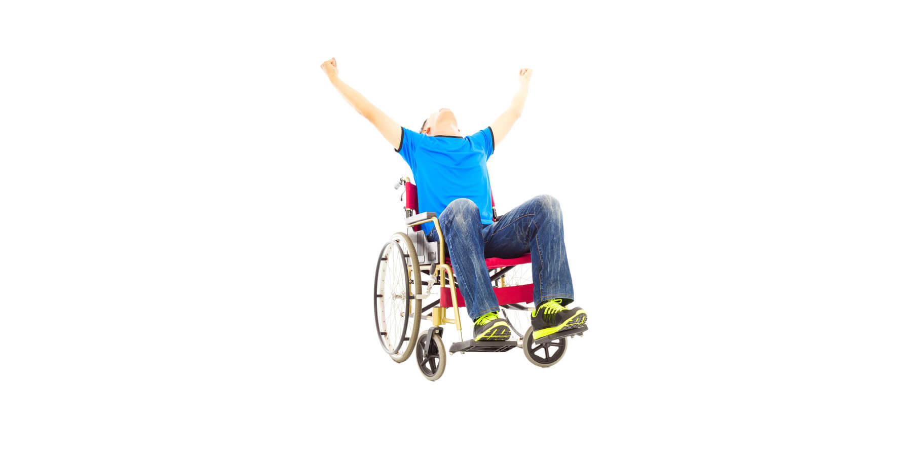 happy man in a wheelchair